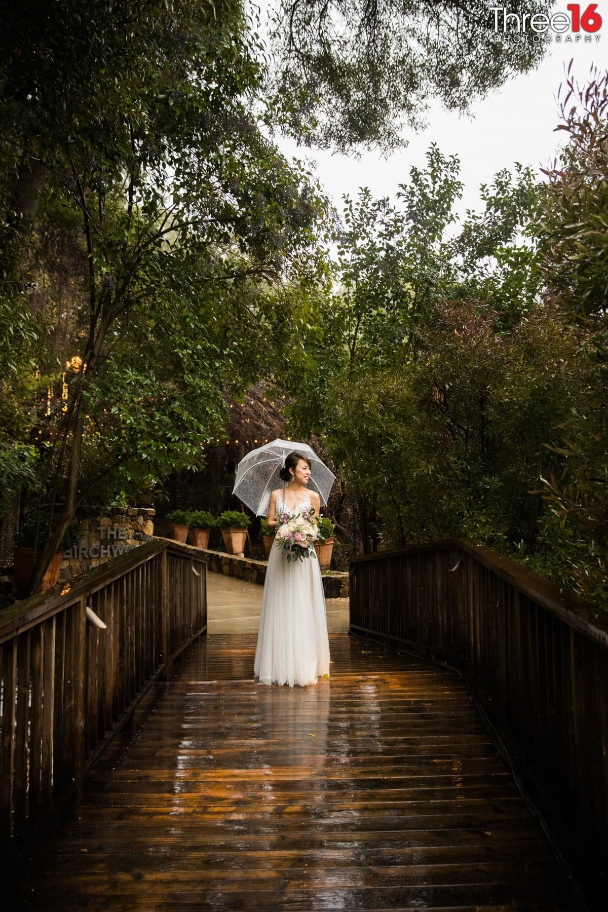 Bride posing on a wooden bridge with an umbrella during a light rainfall