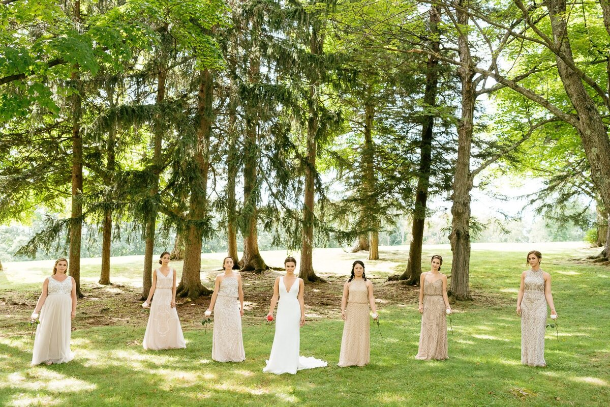 bride and bridesmaids outside catskills wedding planner carey institute wedding canvas weddings