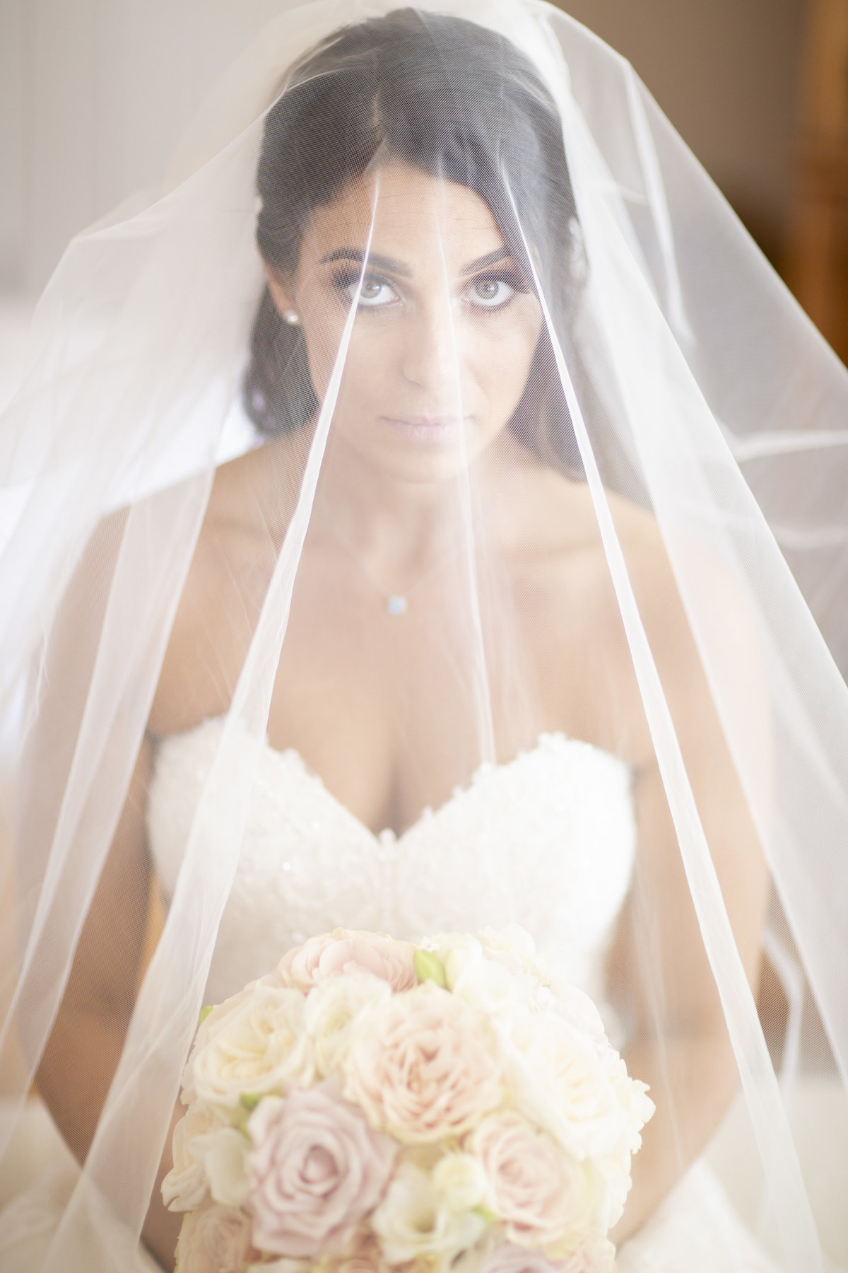 bride in veil before clarks landing yacht club wedding
