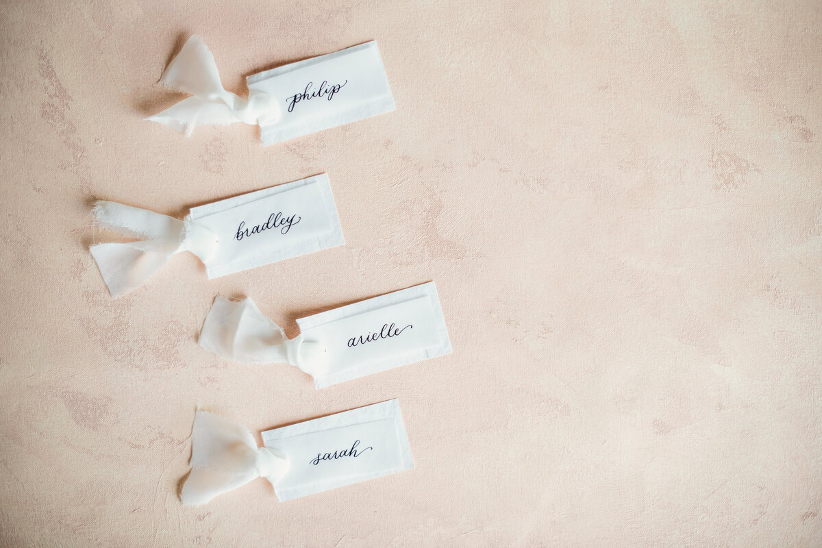 Blushing Calligraphy Vellum Placecards