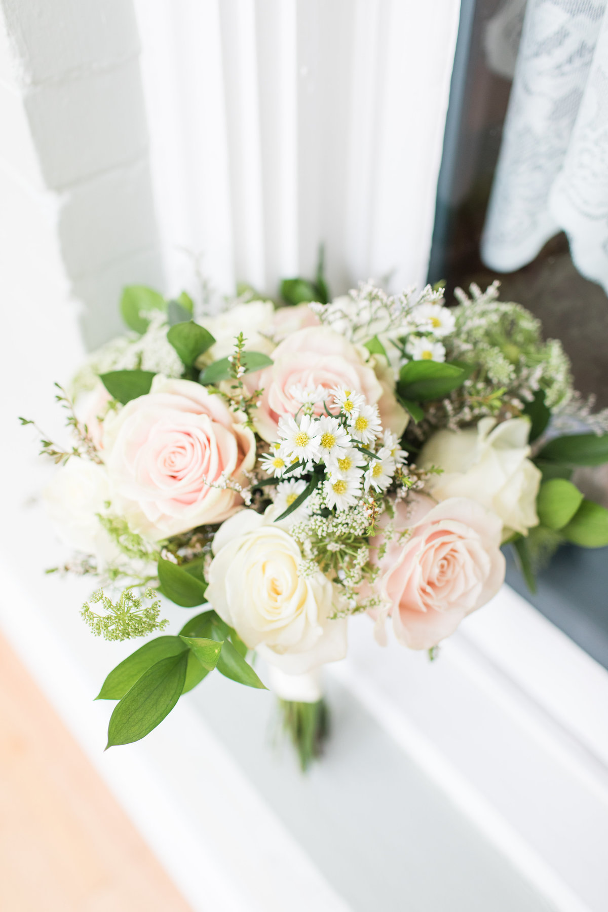 Bridal Bouquet with Blush and White Roses