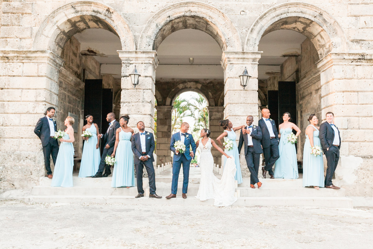 Wedding party portrait at Codrington College - Barbados destination wedding