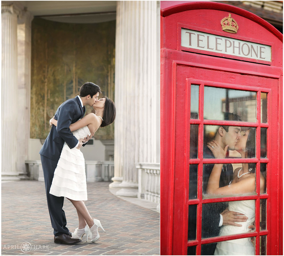 Denver Elopement Photographer British Red Phone Box Civic Center Park Colorado