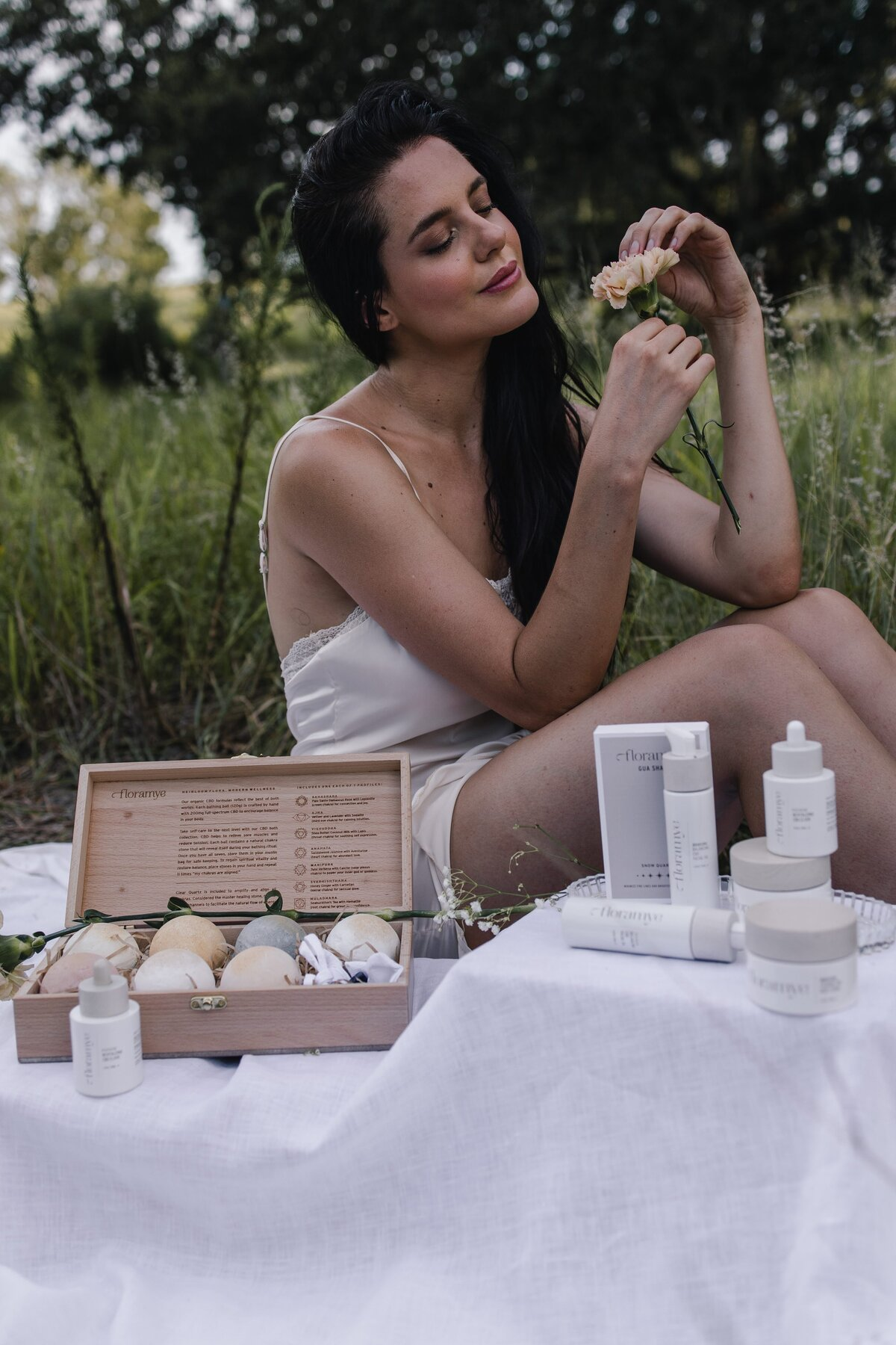 Product Photography for clean beauty brand Floramye at Lake Luisa by Creative Director Alex Perry
