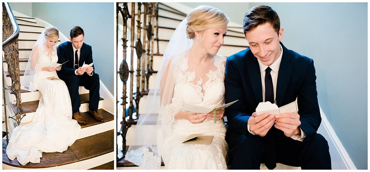 Cedar-Hall-Wedding-Bride-and-Groom-Reading-Letters