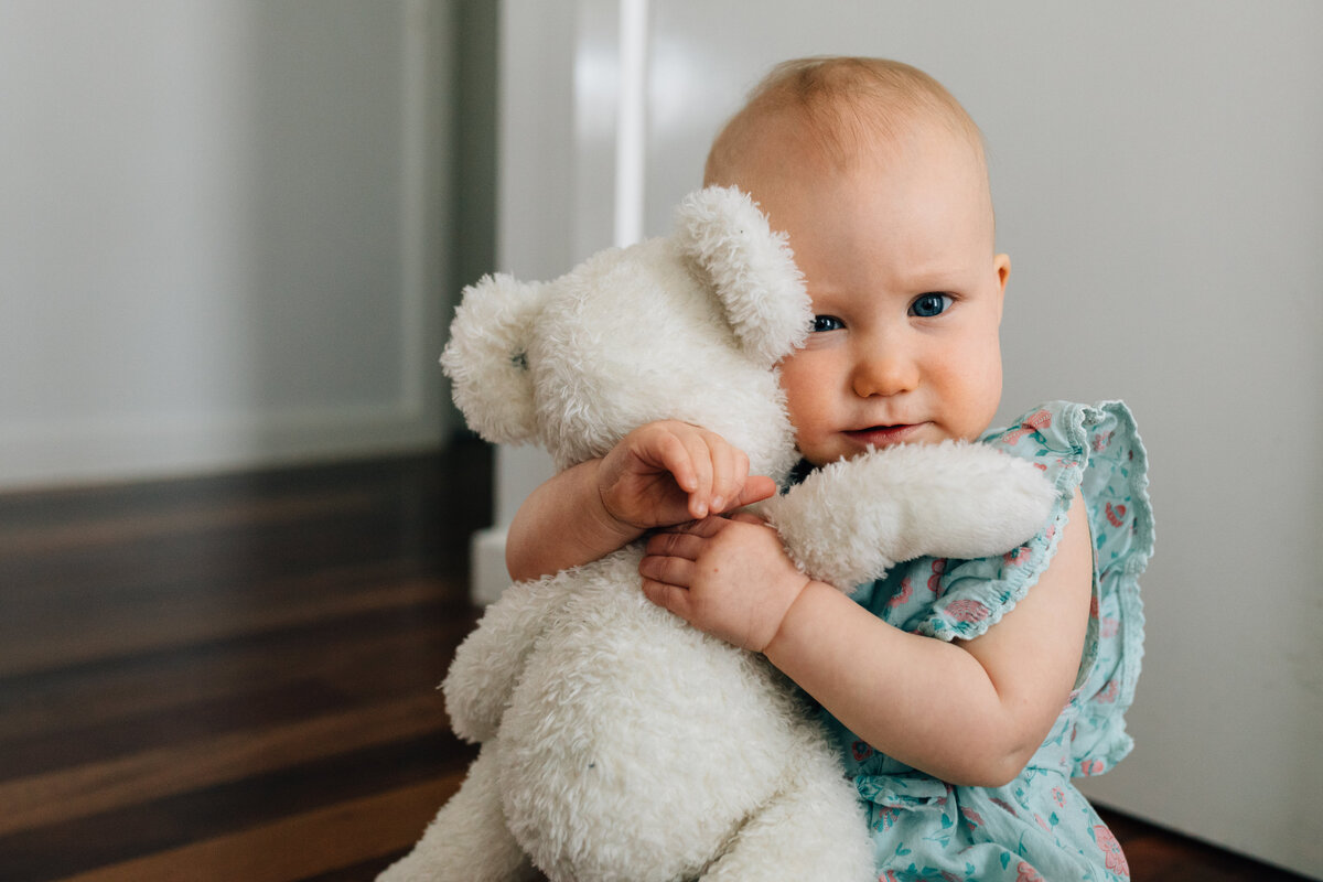 baby girl hugging teddy Melbourne family lifestyle photography And So I Don't Forget Photography