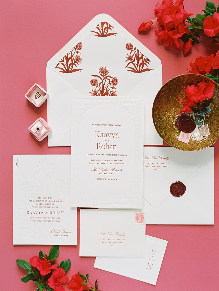 Red and White Letterpress Indian Wedding Invitation Niru & Baku Bonnie Sen Photography