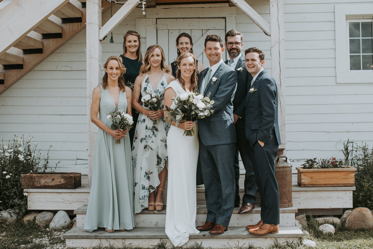 Intimate Montana wedding with bridal party