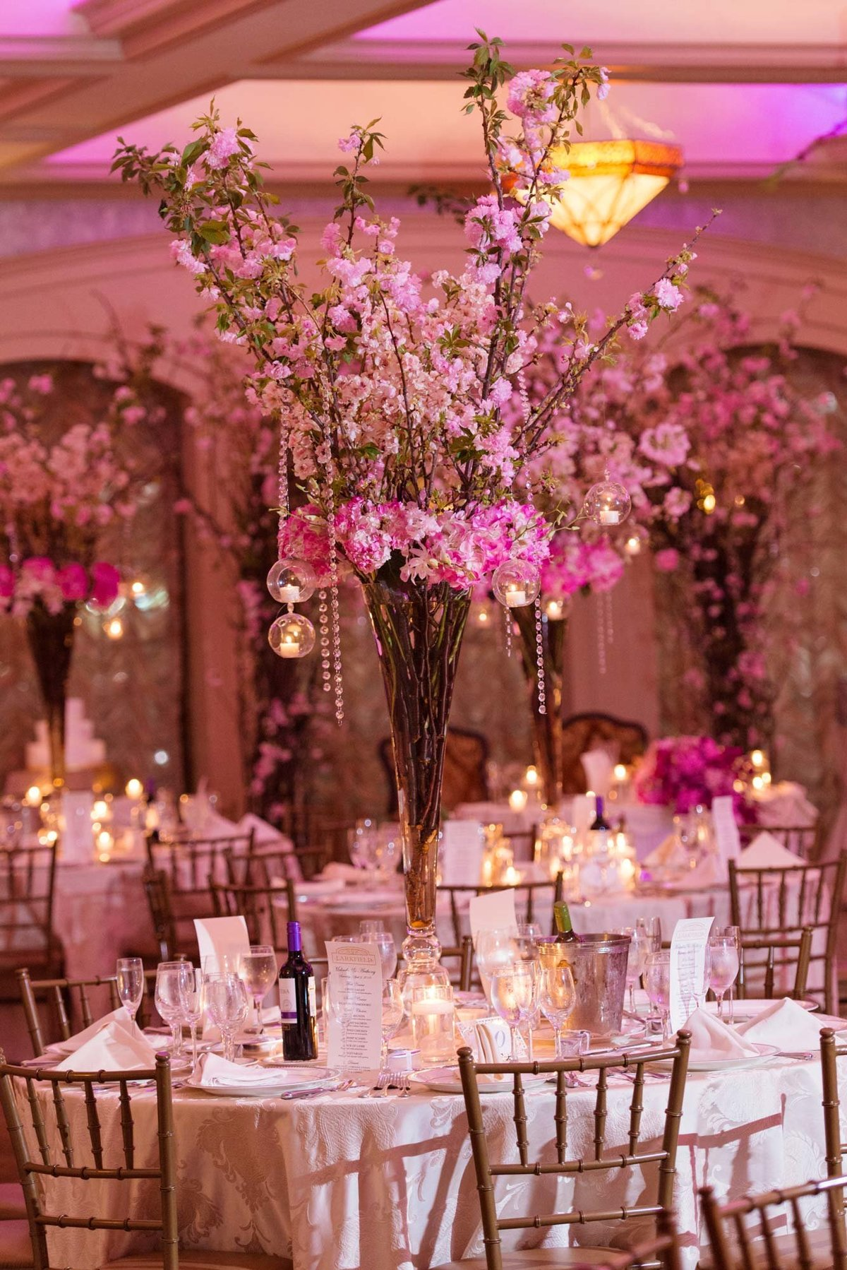 Pink floral centerpieces at Larkfield Manor