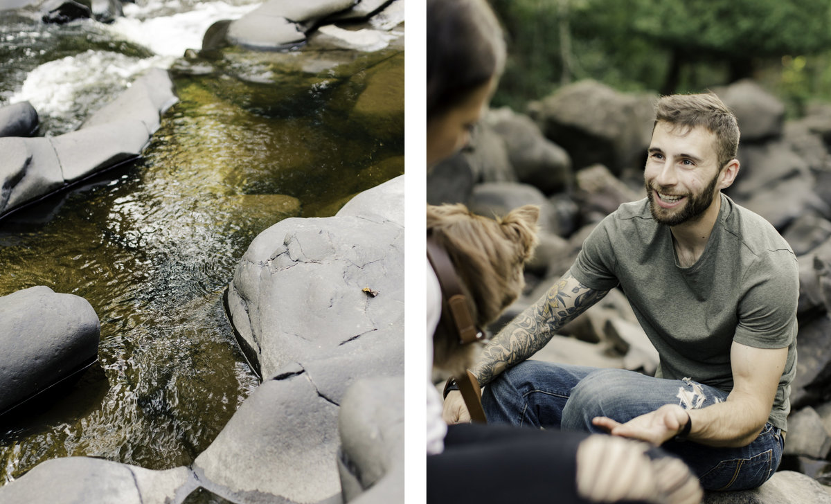 two images of landscape around boulders and the rusted river and of fiance looking lovingly at his family