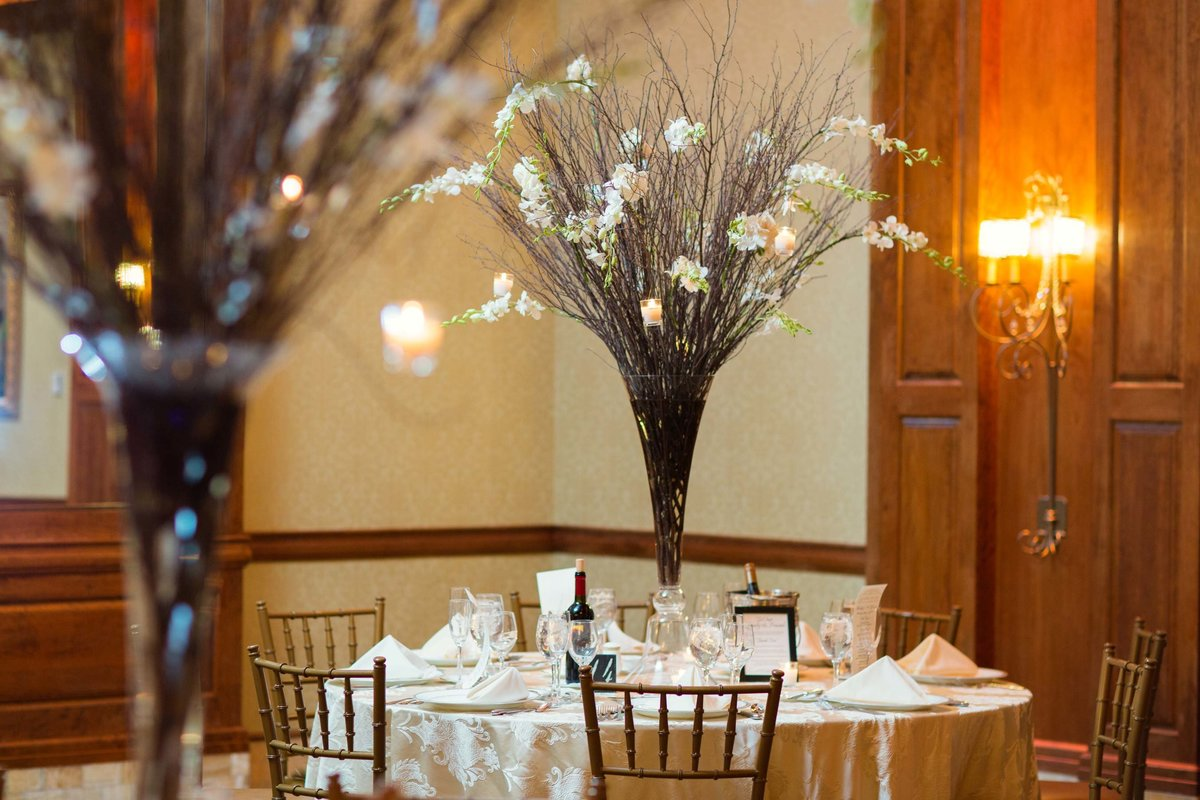 Wedding centerpieces at Larkfield Manor