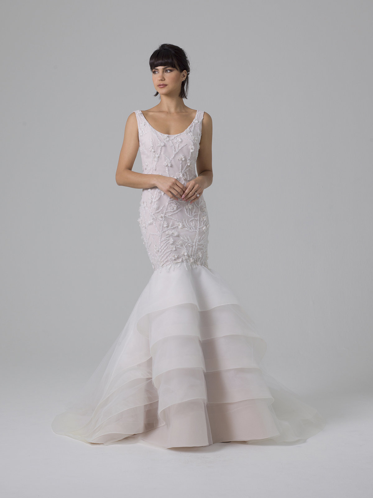 Liancarlo Fit to Flare Ruffled Wedding Dress