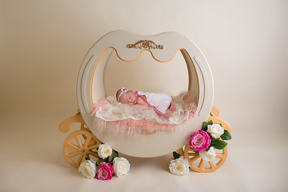 Newborn photos with carriage props
