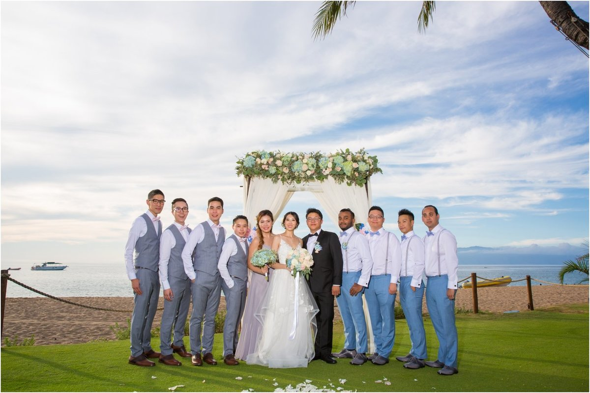 Maui Wedding Photography  at The Westin Maui Resort and Spa with the bride and groom together with bridesmaid and groomsmen