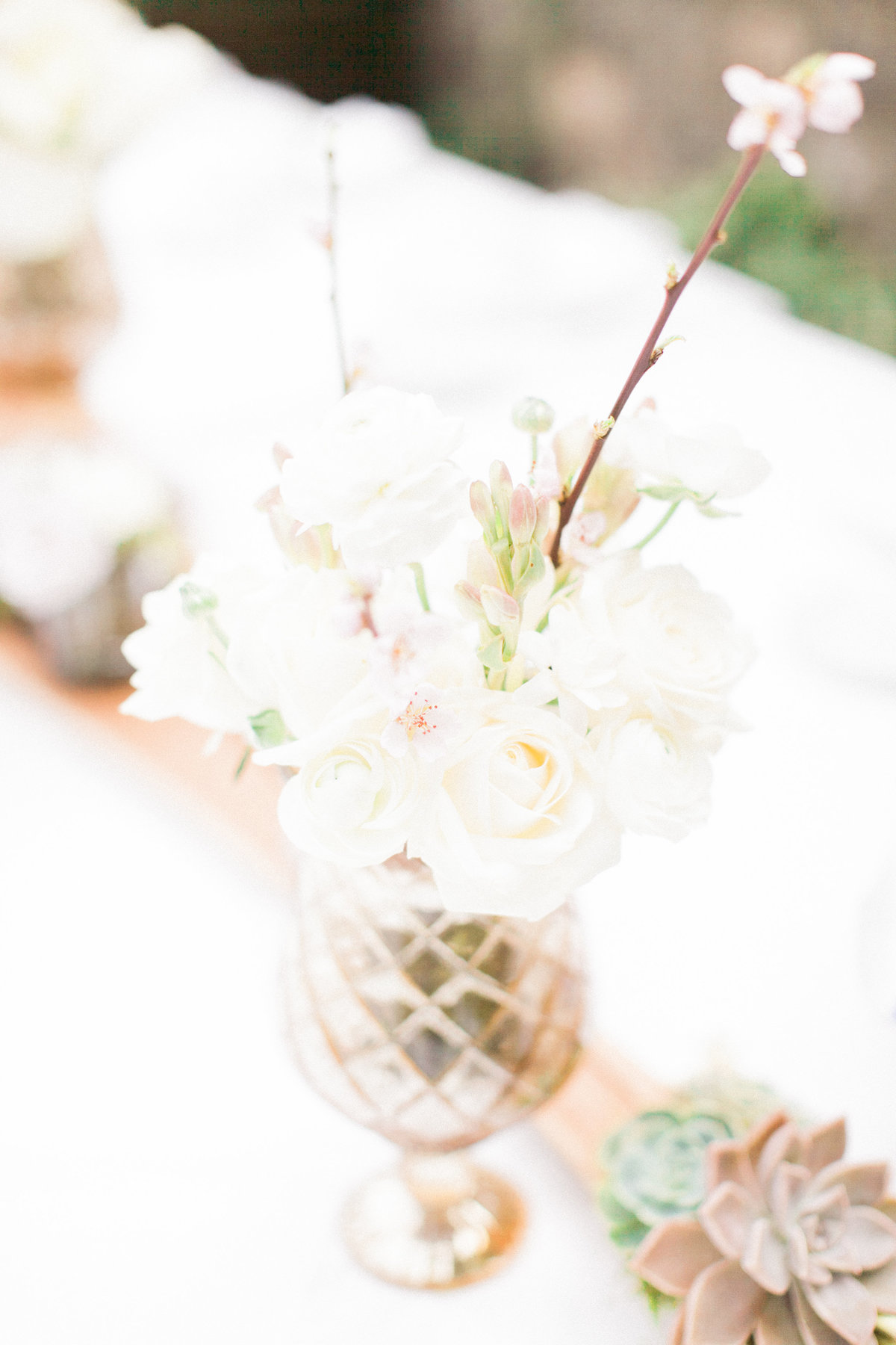 White Wedding Vintage Floral Centerpiece
