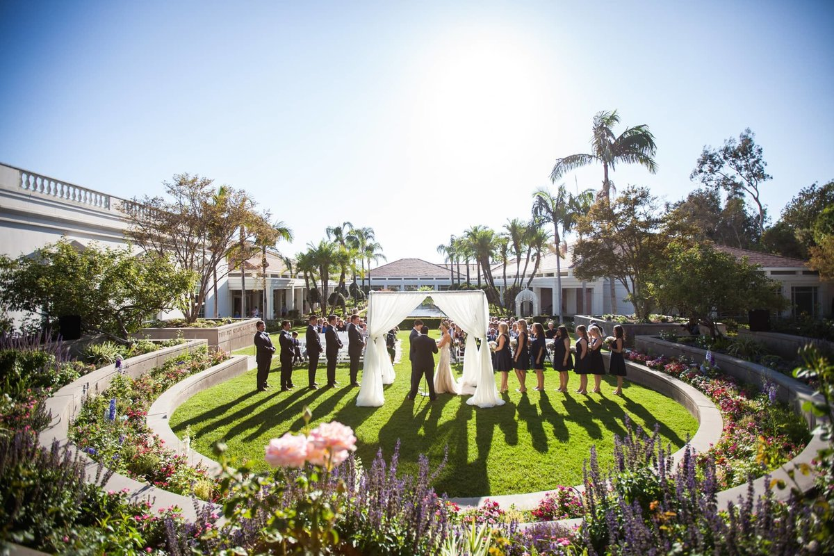 Outdoor Wedding Ceremony at the Richard Nixon Library in Yorba Linda, CA