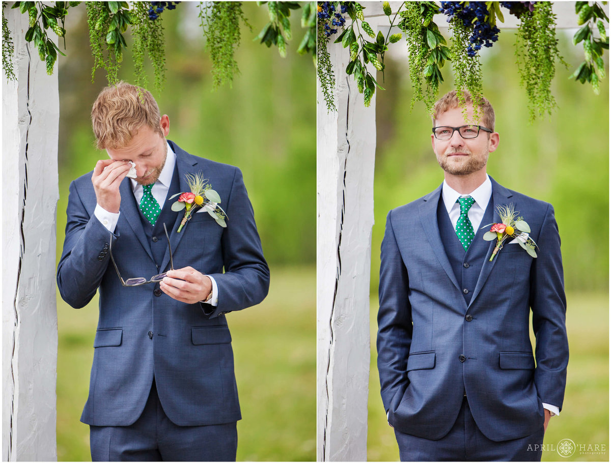Groom's emotional reaction to seeing bride at B Lazy 2 Ranch in Fraser Colorado