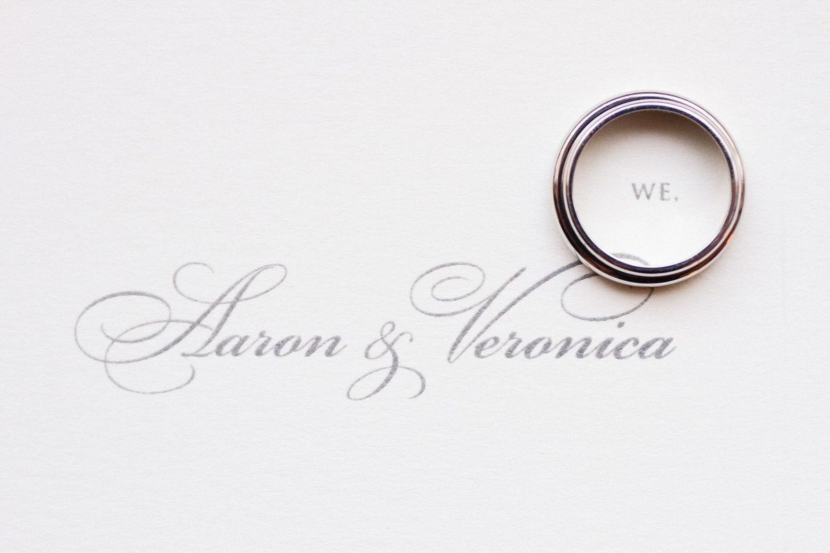 The groom's wedding ring on his wedding invitation.