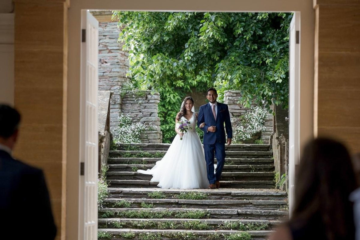 Bride arriving at Orangery Hestercombe Gardens to get married