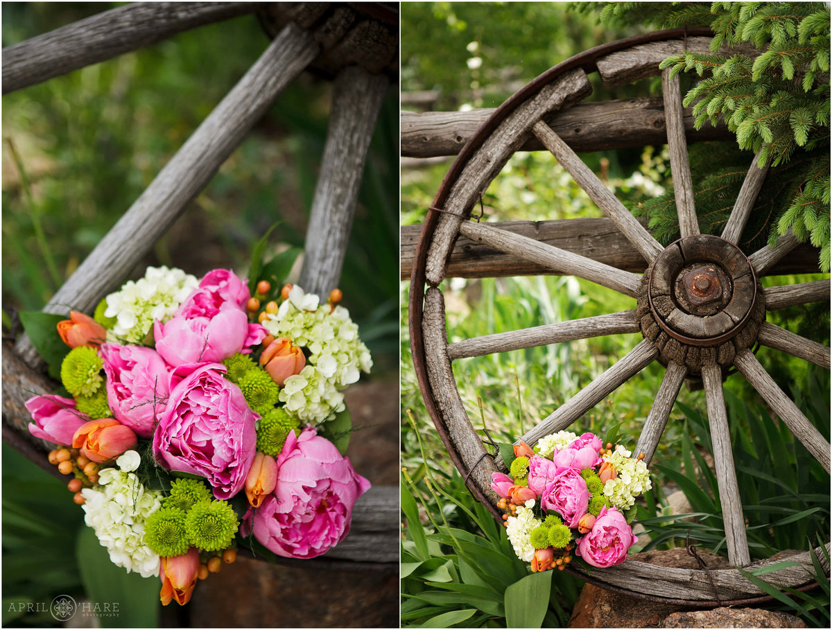 Steamboat Springs Wedding photographer custom bright florals at backyard wedding in Colorado