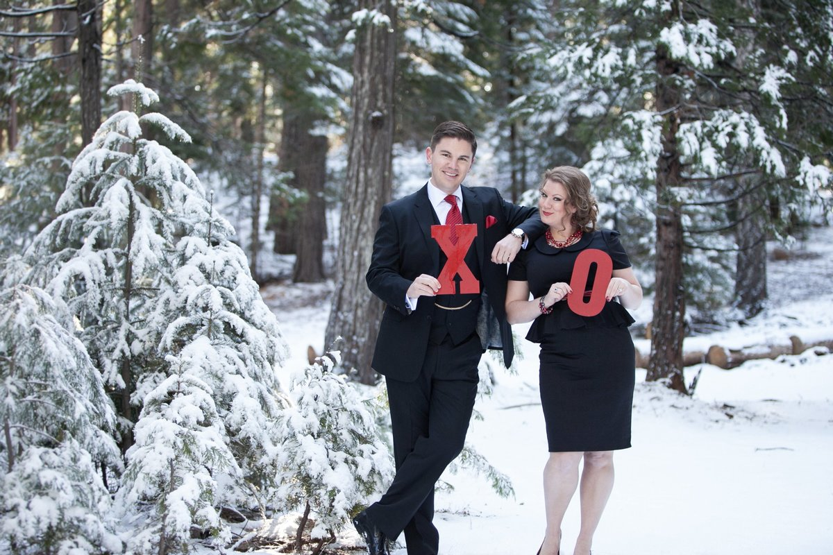 Lake Tahoe snowy engagement session