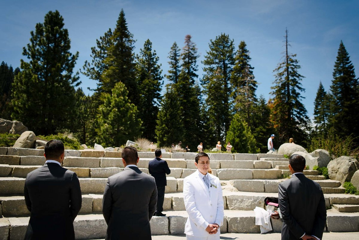groom waiting for her bride at WEDDING AT YOSEMITE NATIONAL PARK
