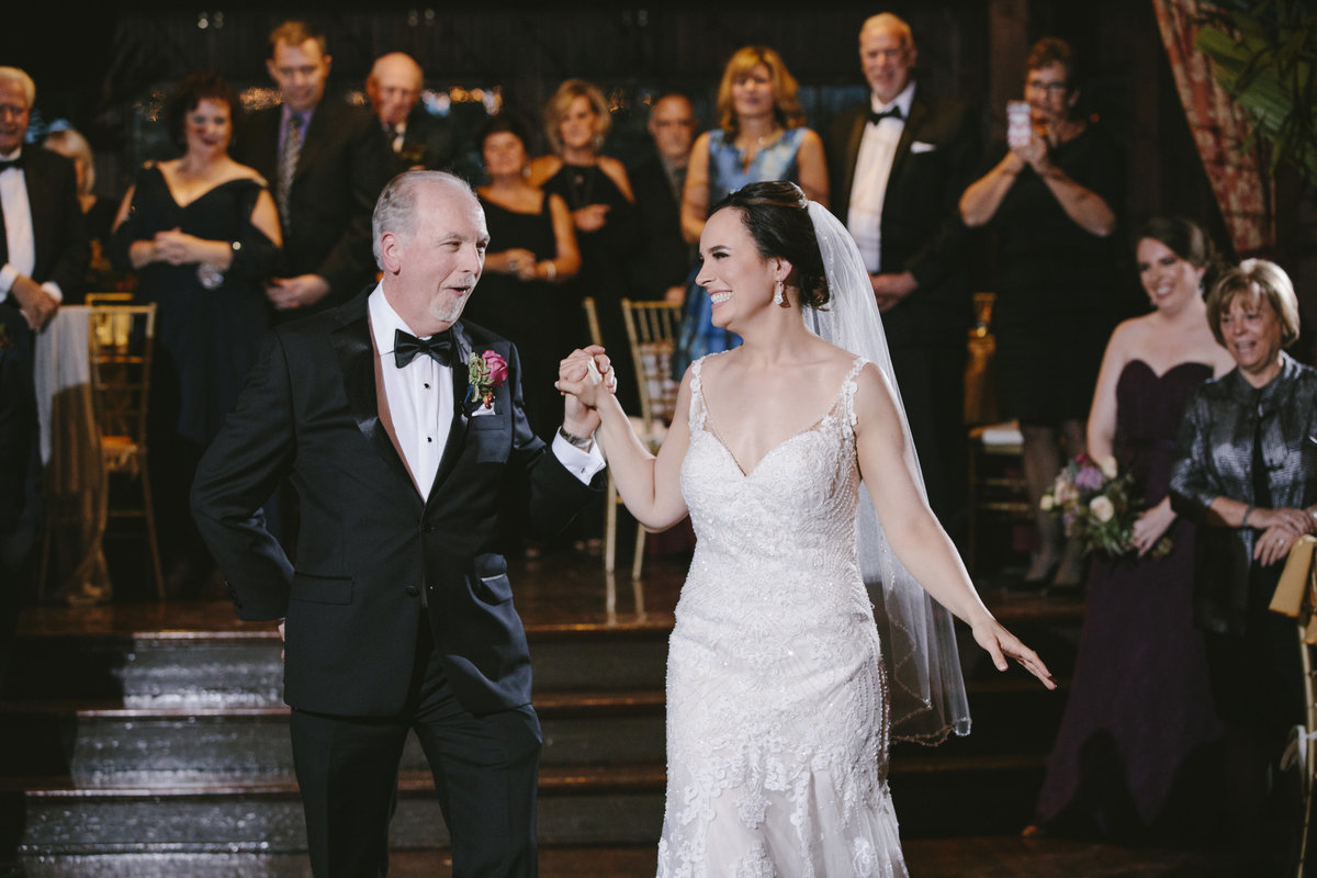 bride dancing with dad at  water witch club wedding
