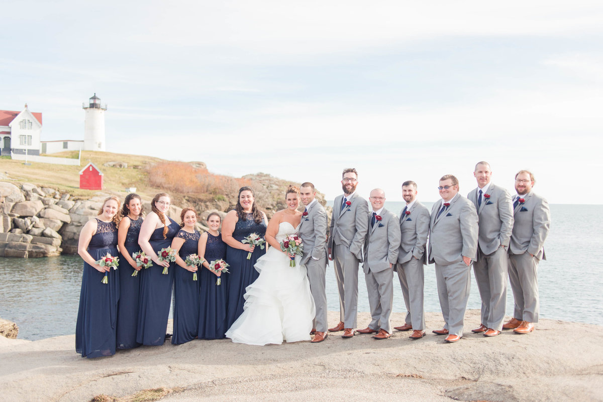 Nubble lighthouse wedding party photos