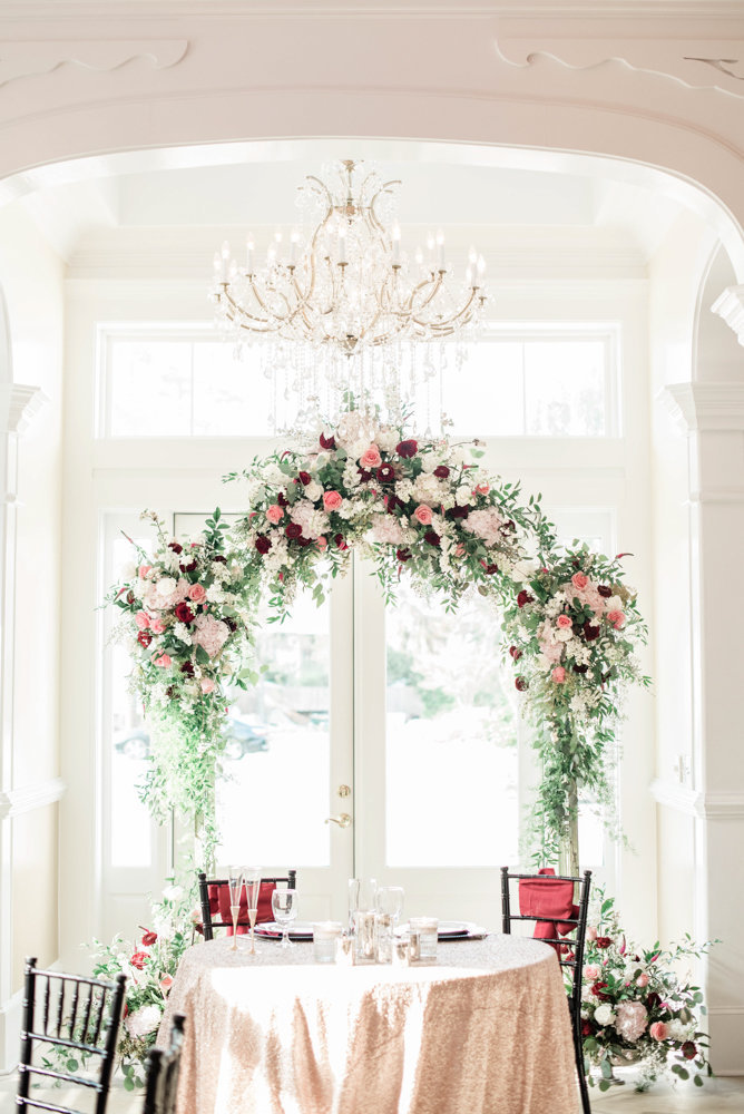 Beautiful floral arch repurposed from ceremony to reception