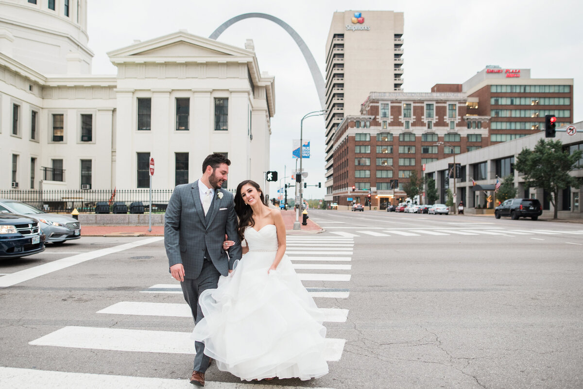 Downtown St Louis Hilton Wedding Urban Portraits