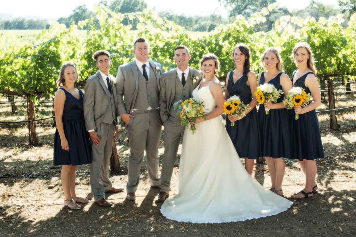 bridal party in vineyards, bridal party in wine country