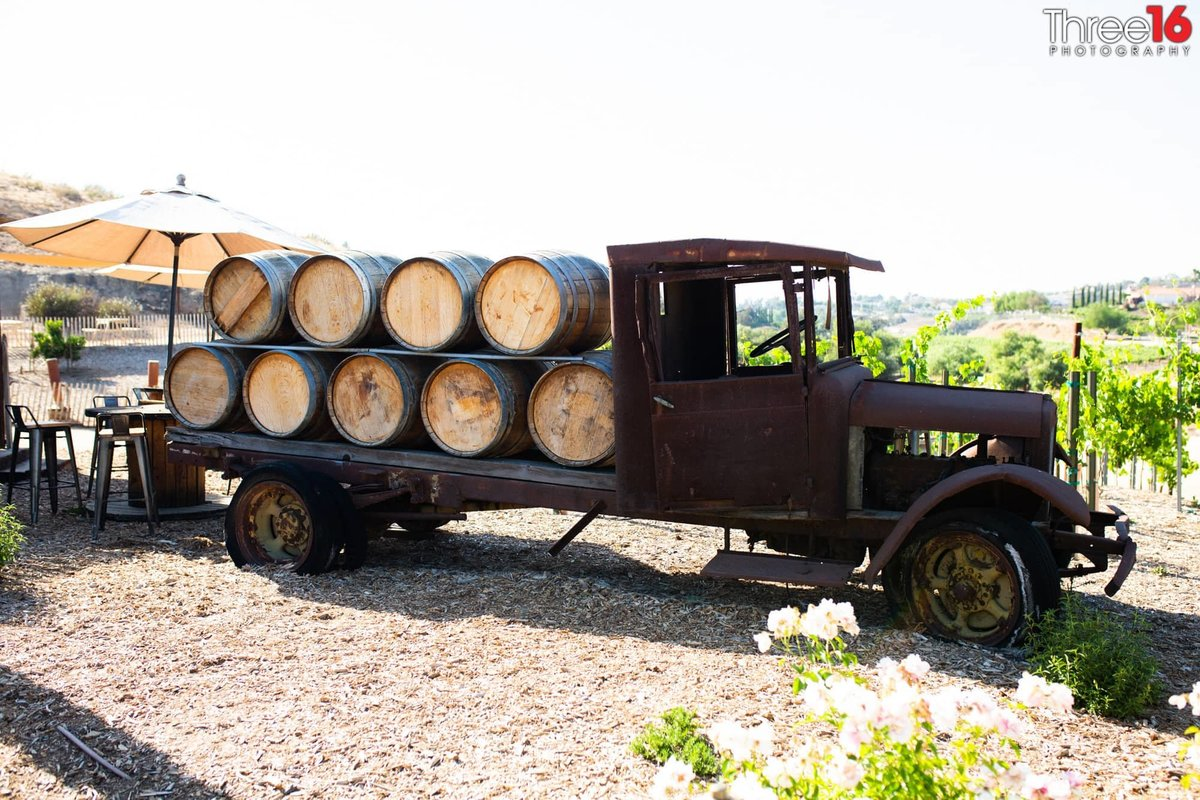 Truck with wine barrels at Peltzer Winery Wedding Venue