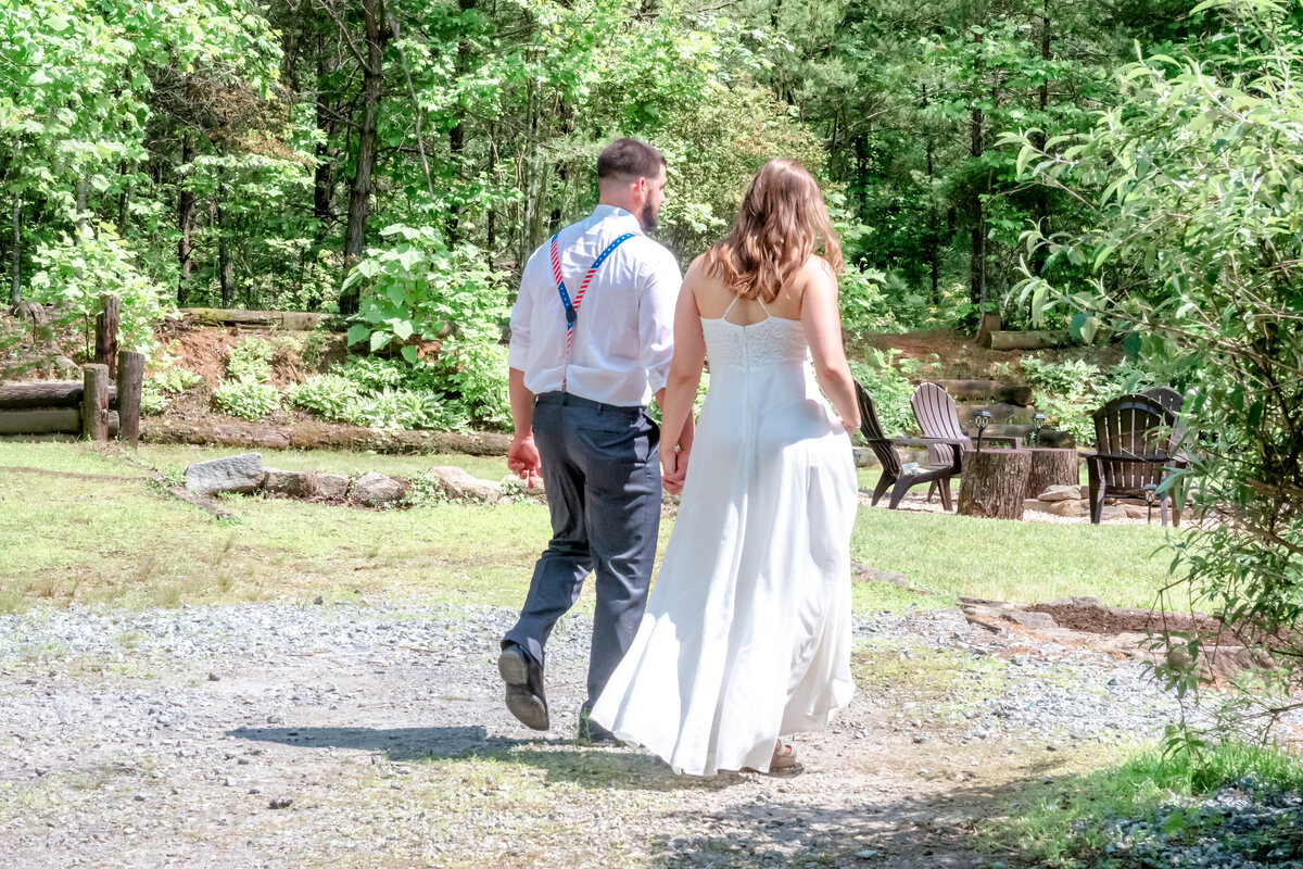 Blue Ridge Mountains Wedding Photography - Rhiannon and Chris - Husband and Wife Exit Back - Wilmington NC Photographers Team