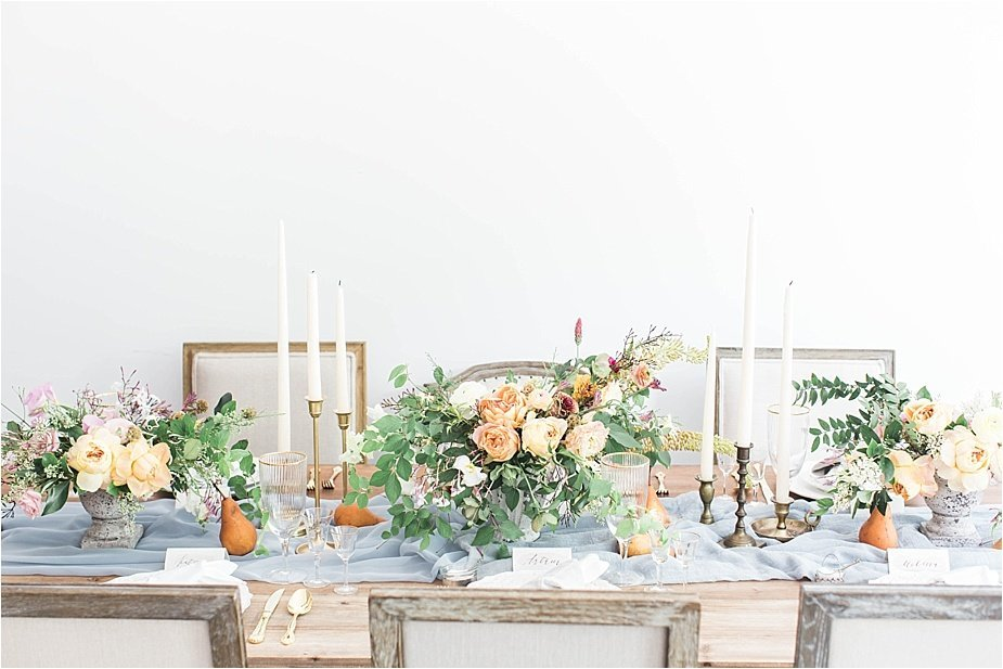 Dusty French Blue and Orange Tablescape Wedding Reception with Candles