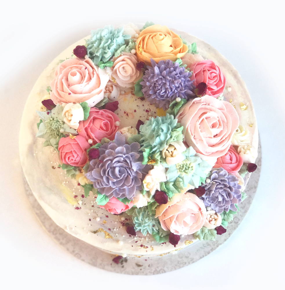 Whippt Birthday Cake 2017 buttercream flowers2