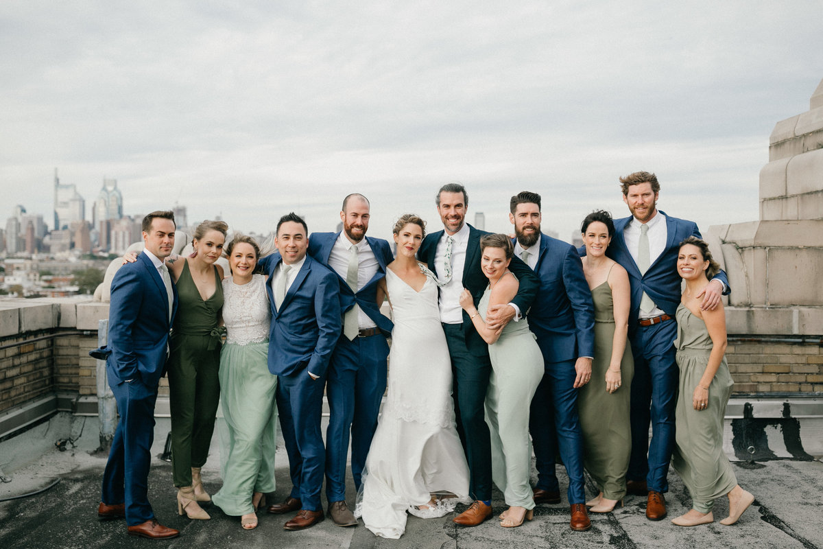 Bridal party photographed on the coolest rooftop wedding venue in South Philadelphia.