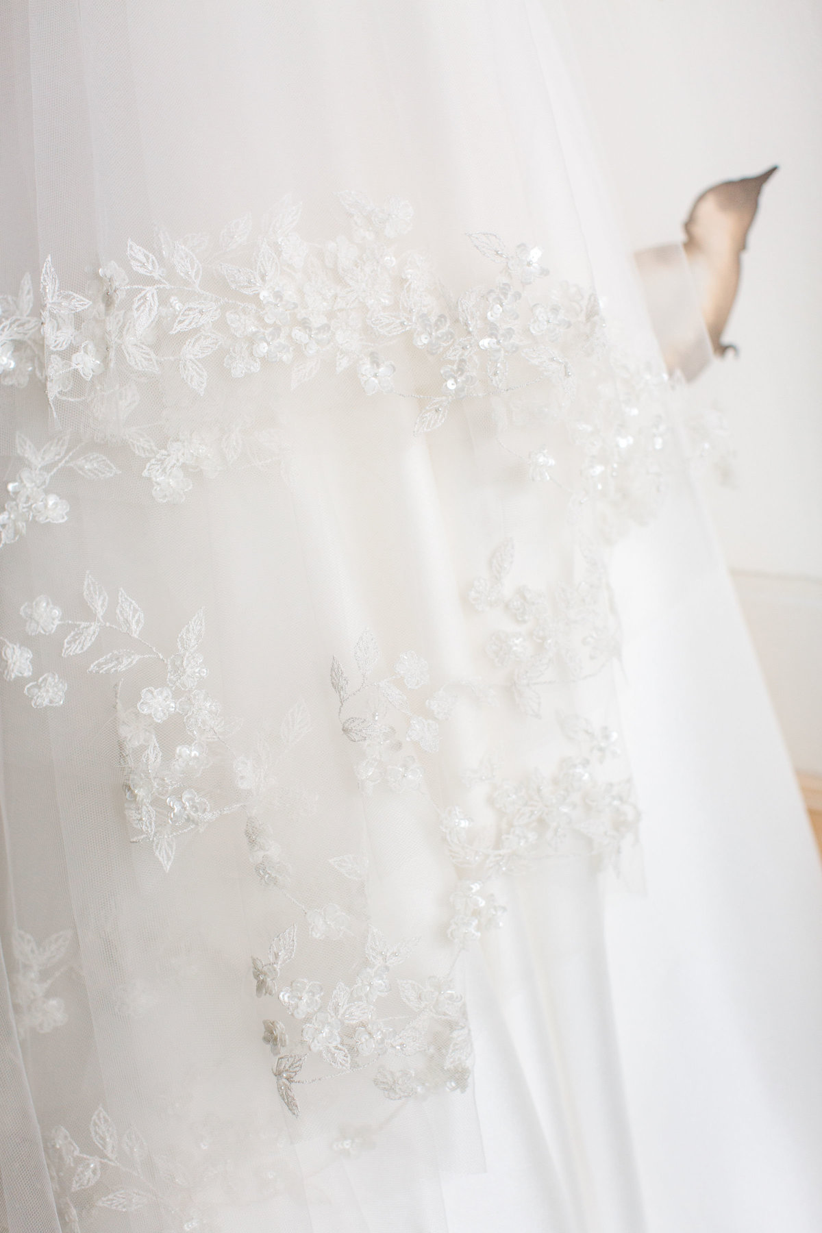 Detail of bridal gown at Castle Pines Golf Club