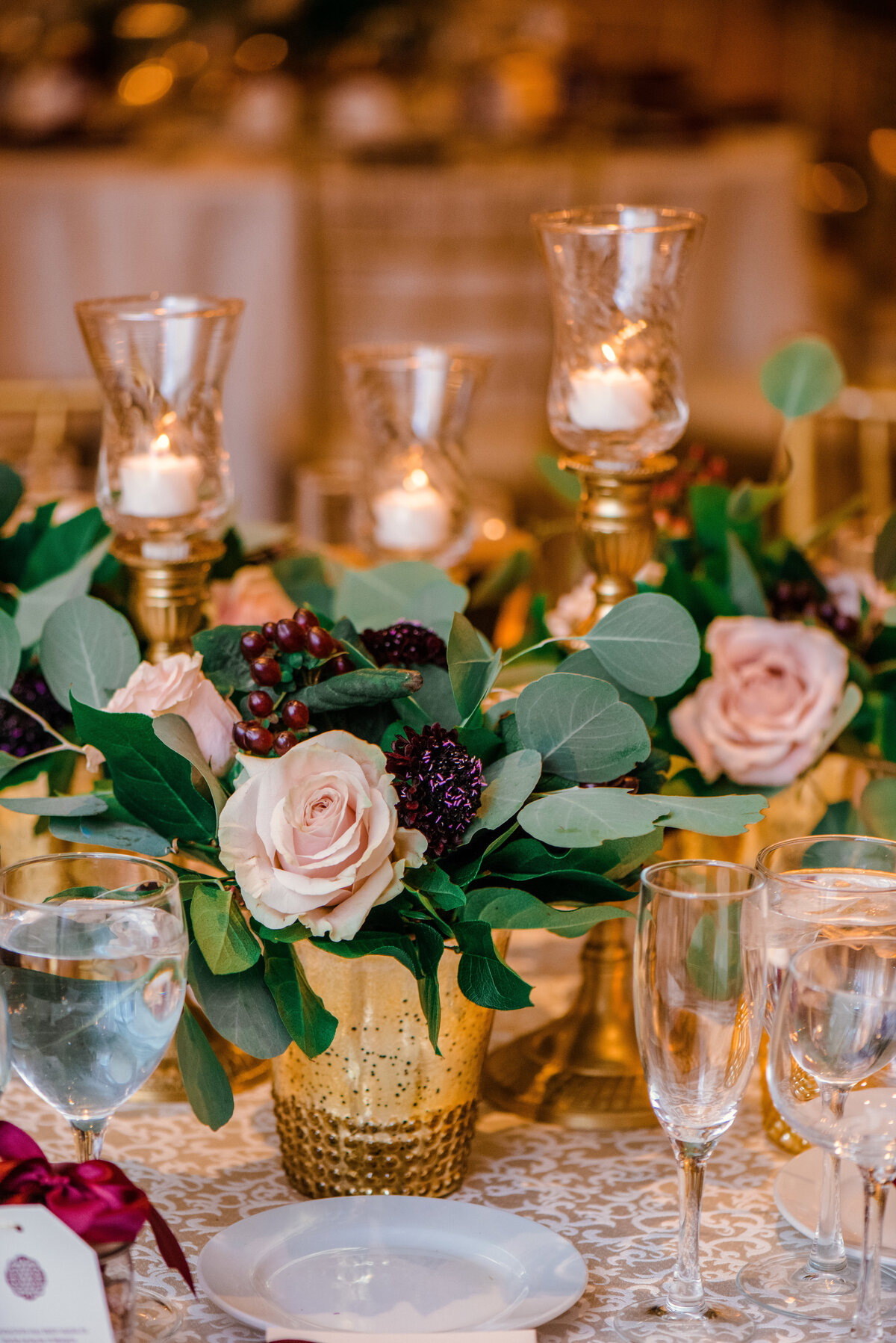 photo of flowers and centerpiece from wedding at The Carltun