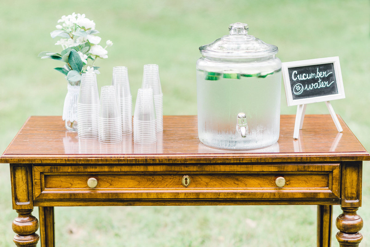 cucumber water for guests at summer wedding