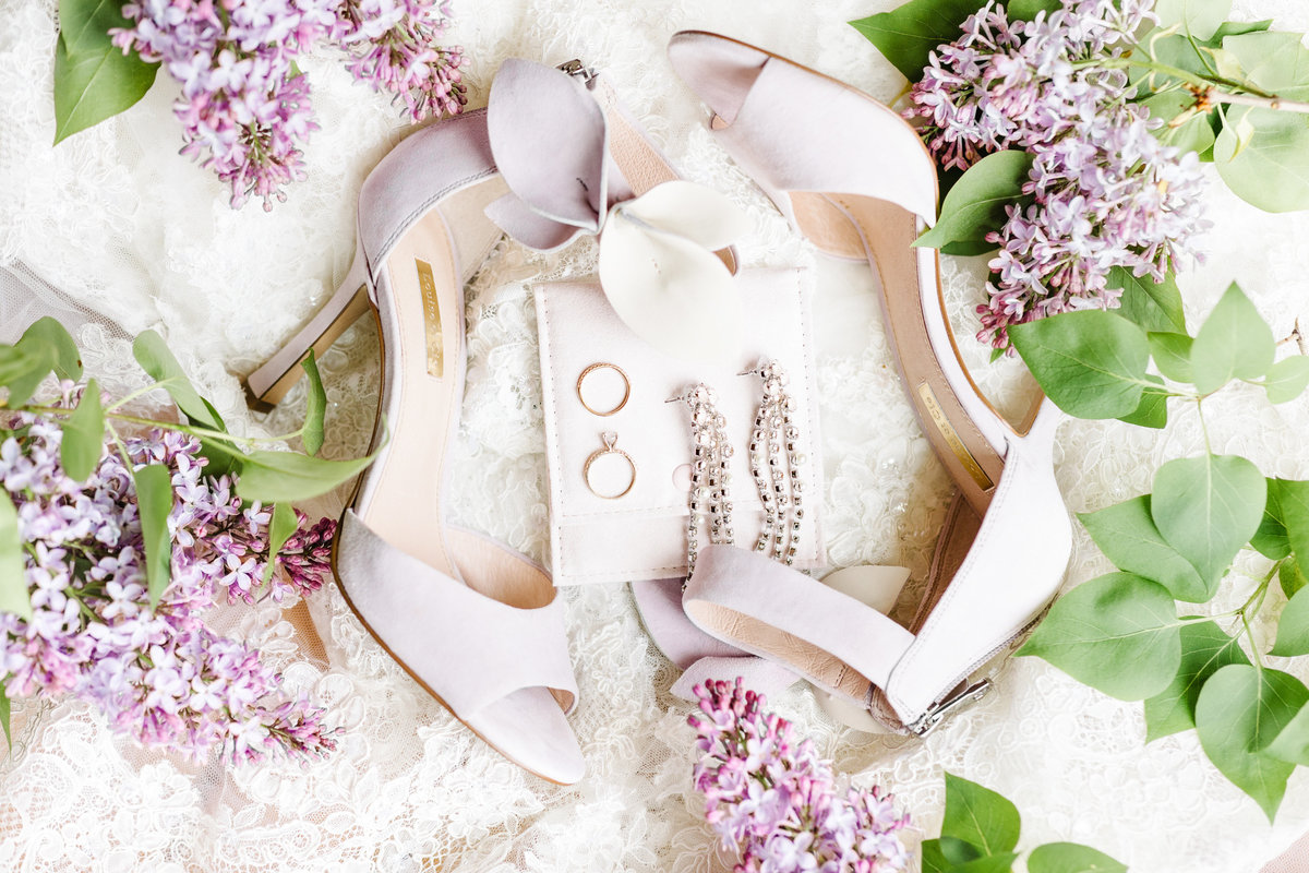 Luxury-Wedding-Details-Shoes-Rings-Spring-Wedding-Lilacs