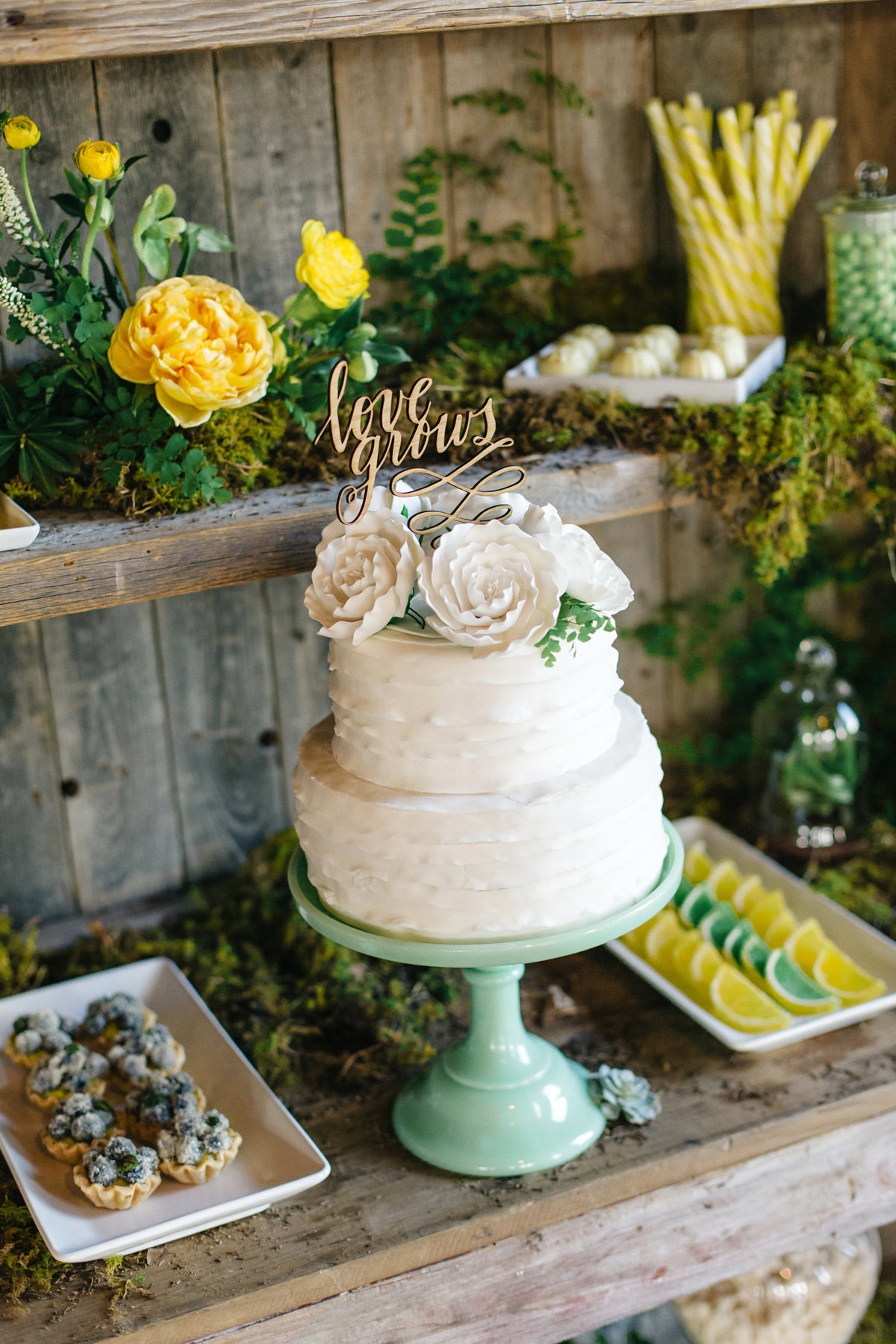 moss botanical floral styling cake