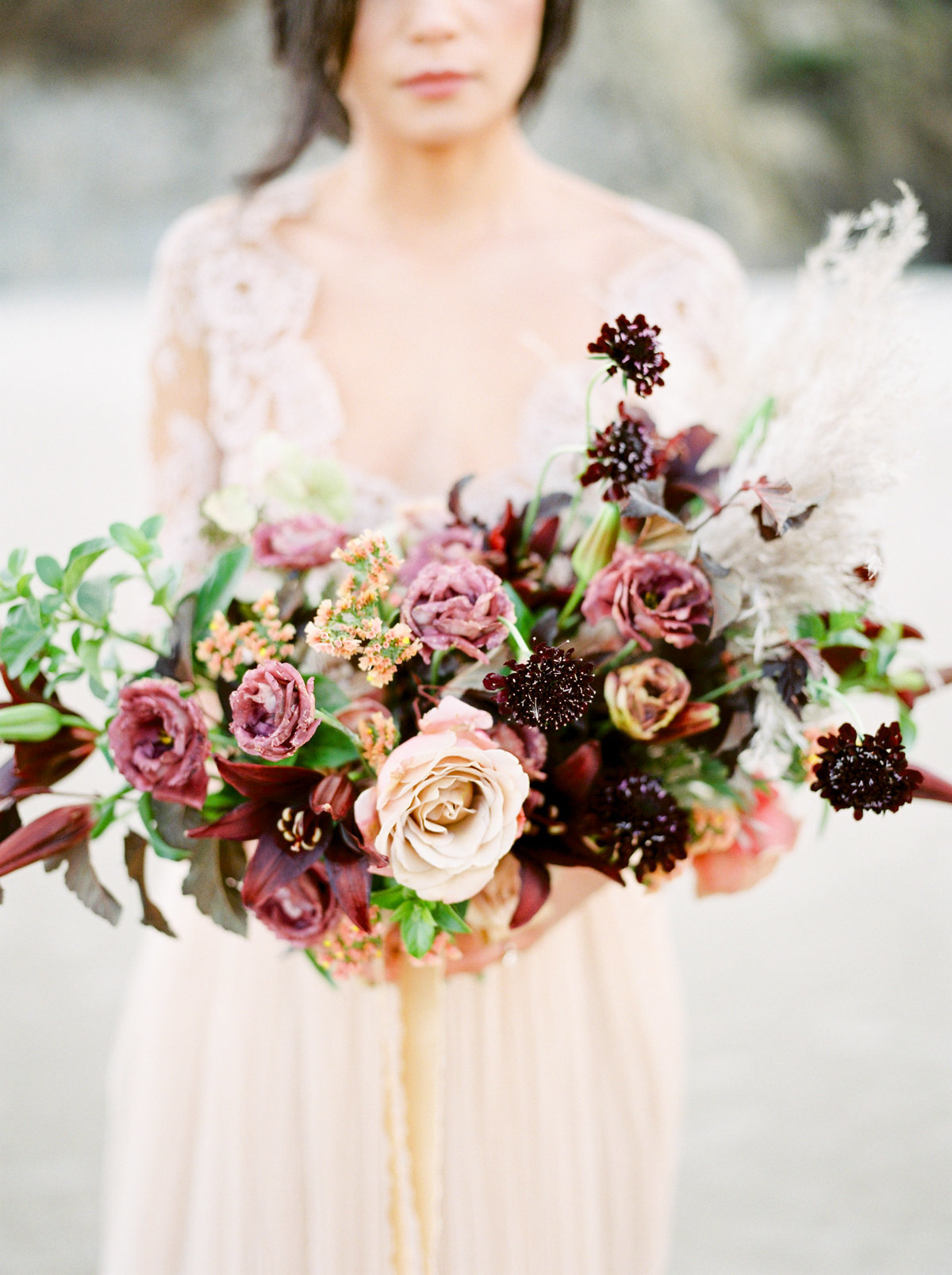 dark pink merlot wedding bouquet
