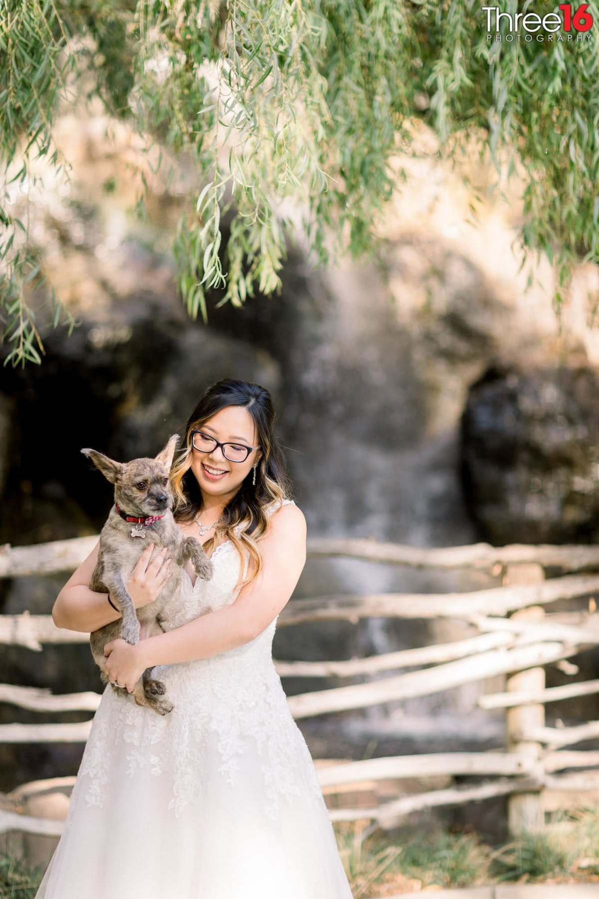 Bride poses in her wedding dress with her dog