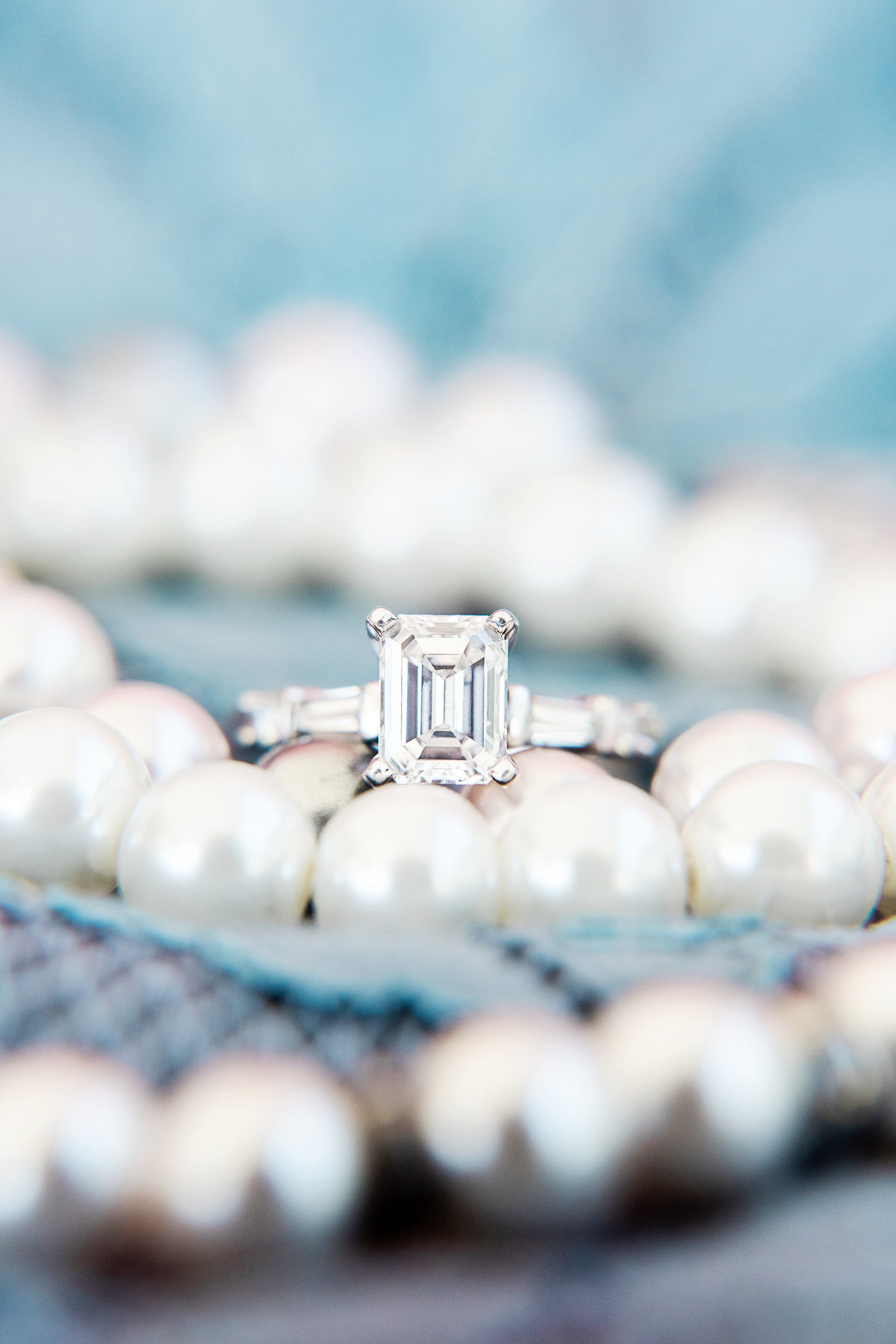 wedding pearls and engagement ring