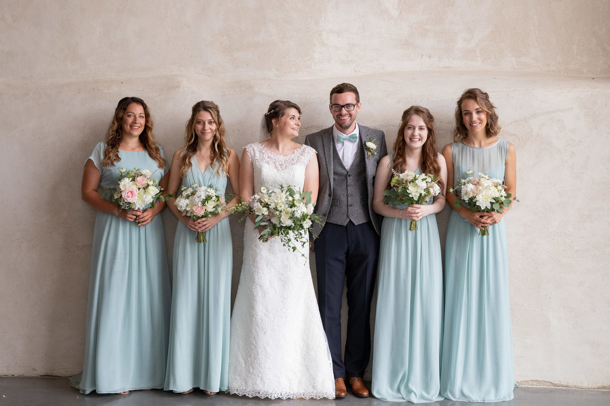 Bridal Party photo indoors at Upton Barn wedding_