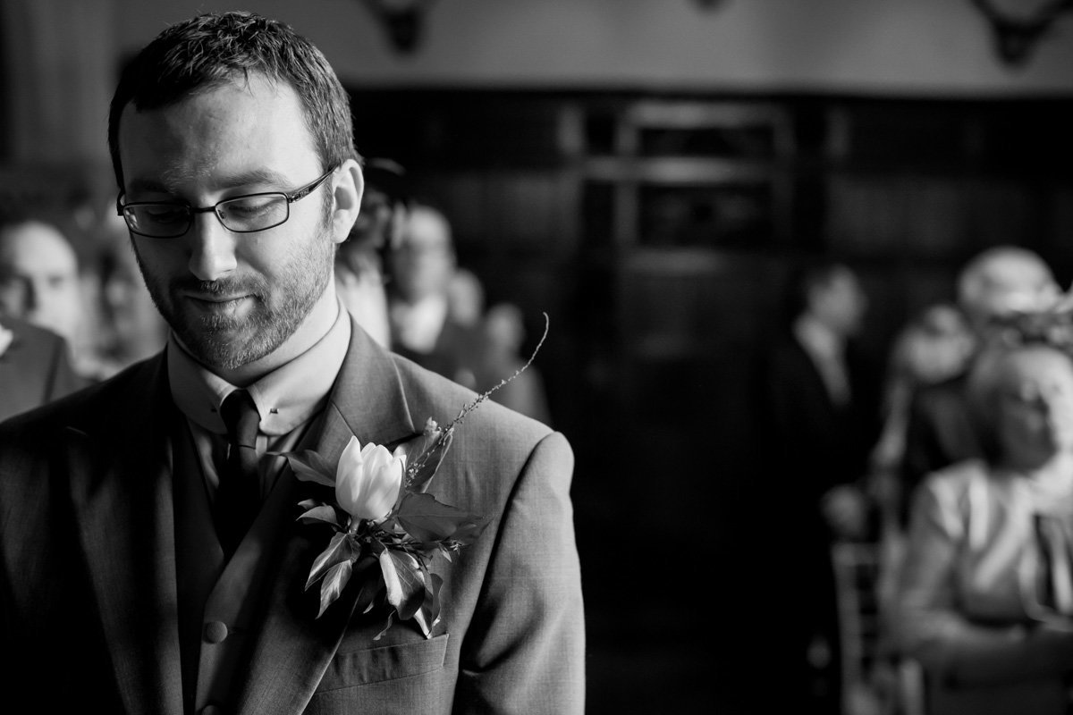 Groom waiting for his Bride at Huntsham Court Wedding