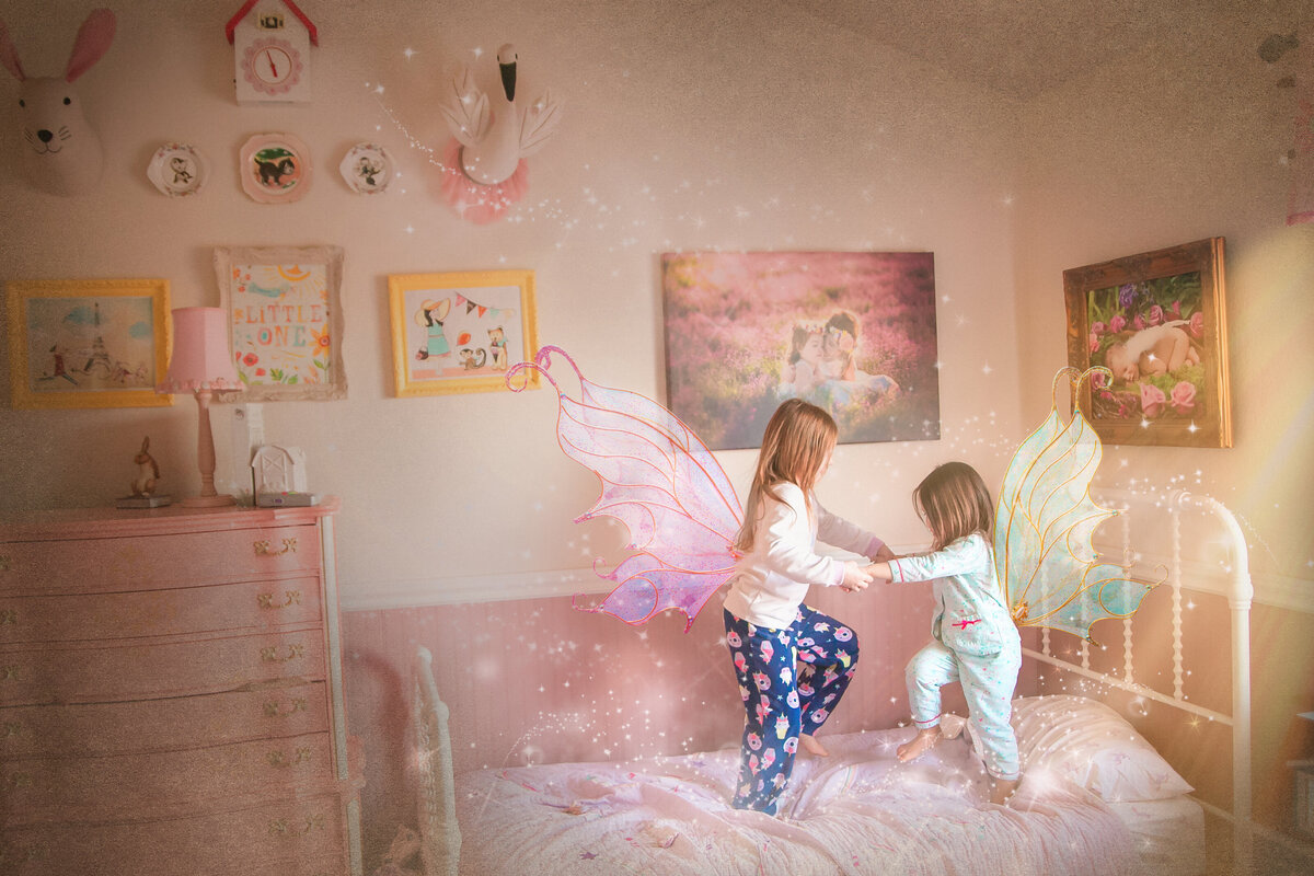 2Fairies_jumping on the bed