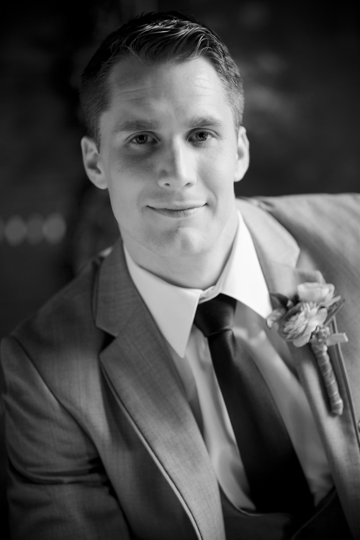 Black and White Portrait on Groom in Grey Suit, Alexandria Church Wedding