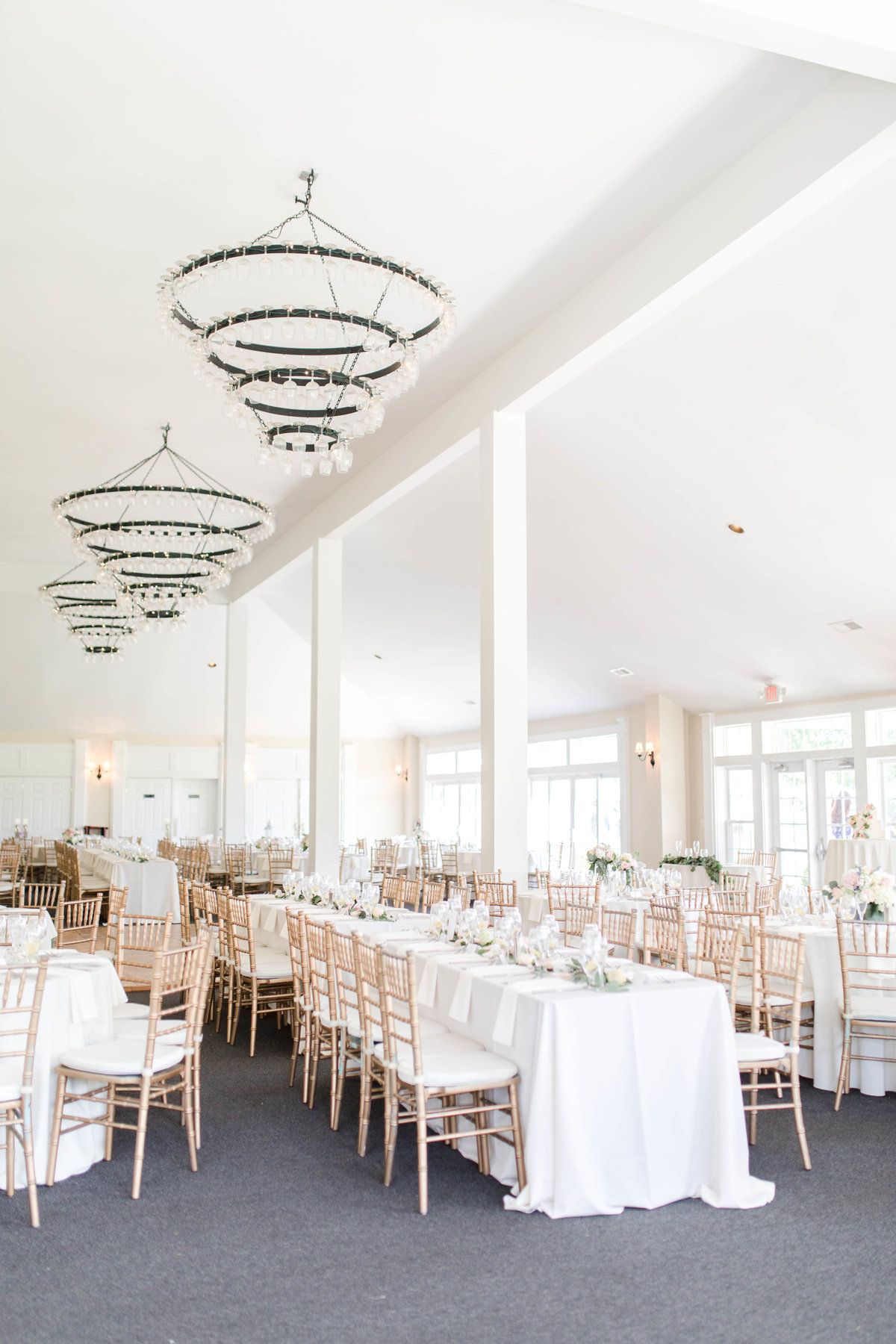 reception space all white at springfield manor winery in maryland by costola photography