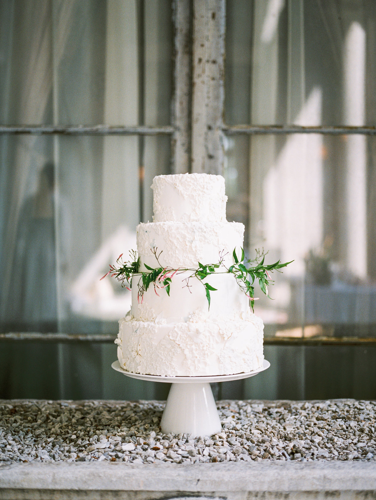 Textured wedding cake for a Garden wedding in Yonkers, New York